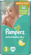 Pampers Active Baby Dry No3 (5-9Kg) 68 τμχ