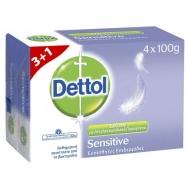 Dettol Σαπούνι Μπάρα Sensitive 100γρ. 3+1 Δώρο