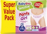 BABYLINO SENSITIVE PANTS GIRL No5 (12-18kg) 34τμχ