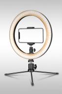 Επαγγελματικό Φωτογραφικό Φωτιστικό Δαχτυλίδι Ring Lamp Light LED USB 26cm με 3 Χρώματα Φωτισμού, Dimmer & Τρίποδο