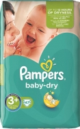 Pampers Baby Dry No 3+  (5-10kg) 47τμχ