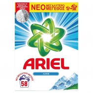 Ariel Alpine Απορρυπαντικό Πλυντηρίου Ρούχων Σκόνη 58 μεζούρες