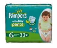 PAMPERS ΠΑΝΑ ΒΡΑΚΑΚΙ Νο6 (16+kg) 33ΤΕΜ ACTIVE BOY