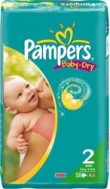PAMPERS BABY DRY No2 (3-6KG) 58τμχ