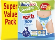 BABYLINO SENSITIVE PANTS BOY No5 (12-18kg) 34τμχ
