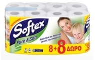 ΧΑΡΤΙ ΥΓΕΙΑΣ SOFTEX PURE & SOFT 16 ΡΟΛΑ 8+8 ΔΩΡΟ 992g
