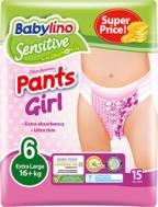 ΠΑΝΕΣ ΒΡΑΚΑΚΙ BABYLINO PANTS NO6 GIRL 15ΤΜΧ (16+KG)