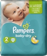 PAMPERS BABY DRY No2 (3-6KG) 33τμχ