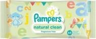 Pampers Natural Clean Baby Wipes χωρίς Άρωμα Ανταλλακτικό 64τμχ