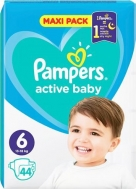 Pampers Active Baby Dry Maxi Pack No 6 (13-18kg) 44τμχ