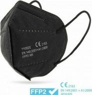 FFP2/KN95 Μάσκα προστασίας Μαύρη με λάστιχο και μεταλικό έλασμα μύτης - EN 149:2001+A1:2009 (Πακέτο 20τμχ - Συσκευασία 1Χ20)