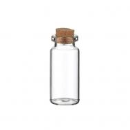 Γυάλινο μπουκαλάκι με κούμπωμα από φελλό 3 x 7εκ 35ml